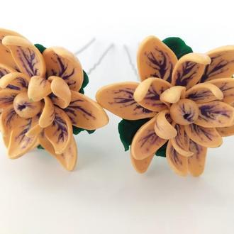 """Шпильки для волос  """"Фантазийные цветы"""""""