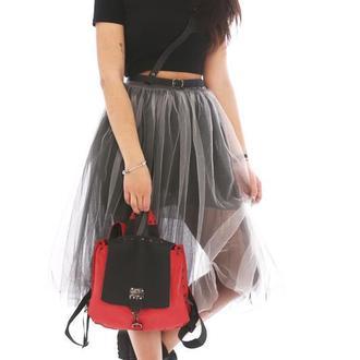 Кожаный рюкзак красно черный от мастерской Wild