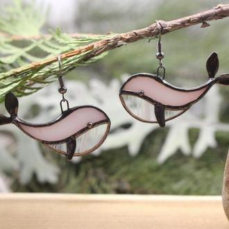 Серьги розовые киты Подарок для девушки
