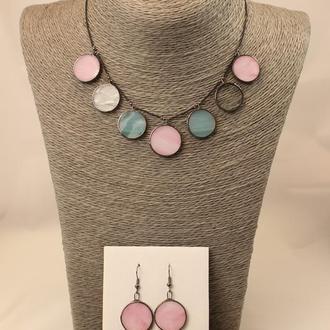 Набор украшений розовый с голубым Серьги и ожерелье Оригинальный набор украшений Подарок девушке