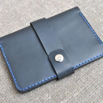 Черный чехол с синей ниткой для документов D02-0+blue