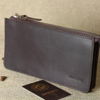 Стильный кошелек-клатч из натуральной кожи. Ручная работа!