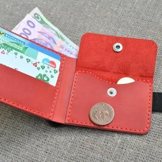 Маленький черно-красный кошелек из натуральной кожи K29-0+580+red