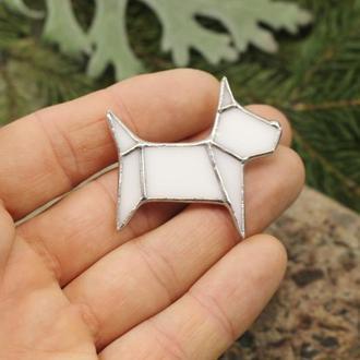 Брошь собачка белая Подарок девушке