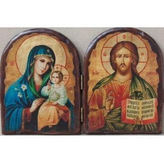 """Складень """"Спаситель и Пресвятая Богородица(Неувядаемый цвет)"""""""