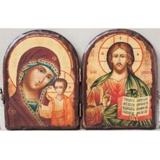 """Складень """"Пресвятая Богородица """"Казанская"""" и """"Спаситель"""""""
