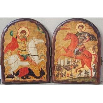 """Складень """"Святой великомученик Георгий Победоносец и Святой великомученик Димитрий Солунский"""""""