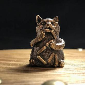 "Наперсток бронза ""Кот с сосисками"""