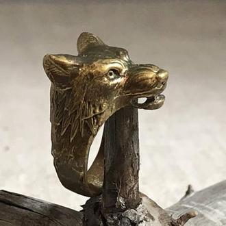 Кольцо бронза Волк