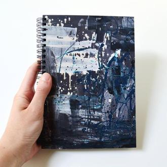 """Скетчбук черные страницы +белая ручка. Авторская иллюстрация """"Абстрактный экспрессионизм"""""""