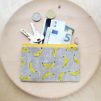 "Льняной кошелек ""Бананы"""