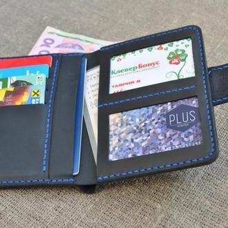 Вертикальный кошелек темно-синего цвета из натуральной кожи D05-600