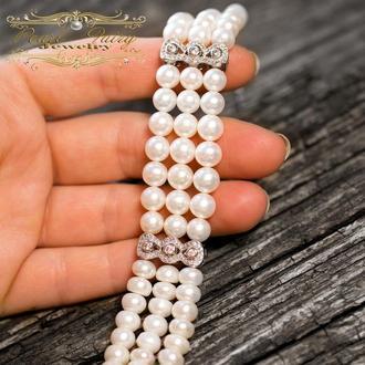 Браслет з натуральних білих перлів і цирконів