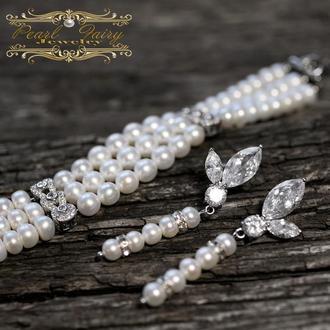 Комплект з браслету та сережок з натуральних перлів