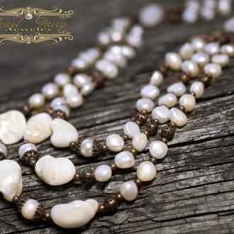 Намисто з натуральних перлів кольє у стилі бохо