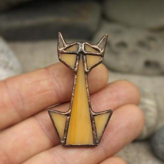 Брошь оранжевый кот Подарок девушке Оригами брошь