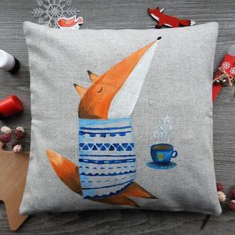 """Декоративна подушка з ручним розписом """"Лесичка і кава""""."""