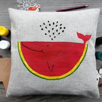"""Декоративна подушка з ручним розписом """"Кит-кавун""""."""