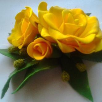 Заколка Желтая роза