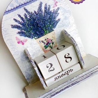 Вечный календарь круглый Ведёрко лаванды (большой)