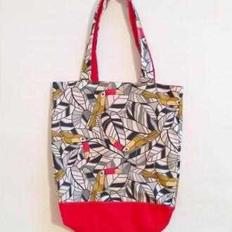 двойная сумка шоппер из натуральной ткани ( хлопок ) с необычным принтом какаду