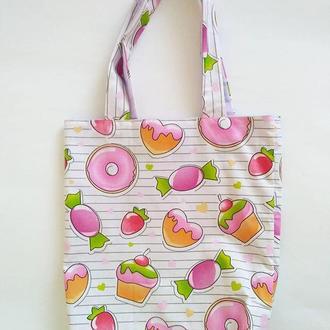 моя сладкая любовь - сумка - шопер из хлопковой ткани нежных розовых оттенков с сиреневой подкладкой