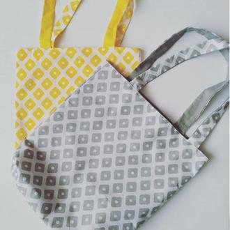 Купить желтую хлопковую сумочку с подкладкой ,сумку шопер, еко сумка, эко сумка из хлопка