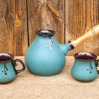 """Набір кавовий """"крапля""""(турка 500 мл. з двома горнятками)"""