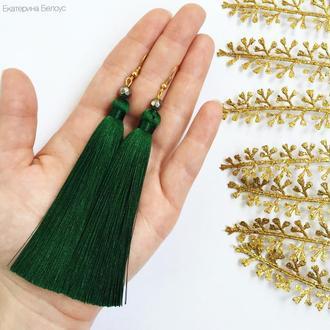 серьги кисти зеленого цвета