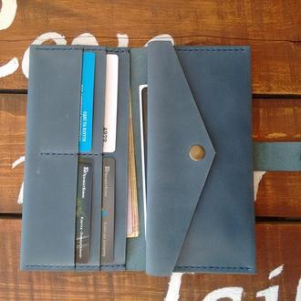 Кожаное портмоне на хлястике. WW - 001