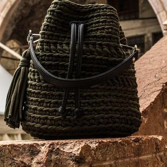Сумка-торба із трикотажної пряжі