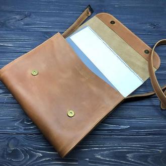 Кожаная сумка мессенджер для документов под формат А4 Elmonte Big ginger - 15 цветов, 2 вида кожи