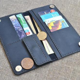 Темно-синий кошелек из натуральной кожи K39-600+brown