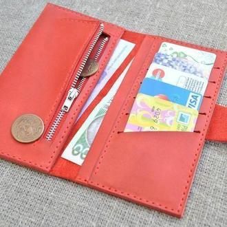 Кожаный  красный кошелек K24-580