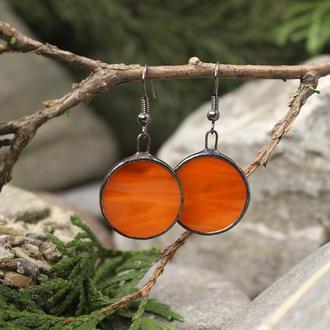 Серьги красно-оранжевые круглые Подарок девушке