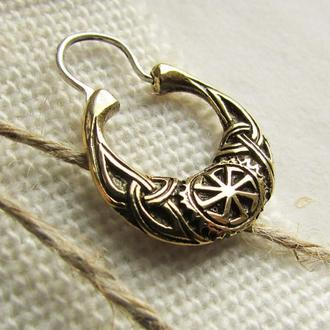 Мужская серьга Коловрат бронза -серьга для мужчин - серьга викингов - славянская символика