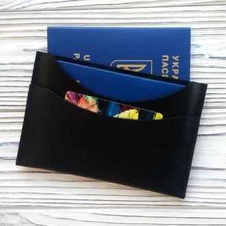 Черный органайзер для двух паспортов, подарок для парня от мастерской Kozhemyaka