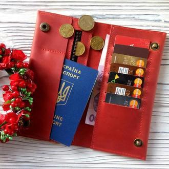 Большие женские кошельки, красный кошелек женский купить, именные женские подарки от Kozhemyaka