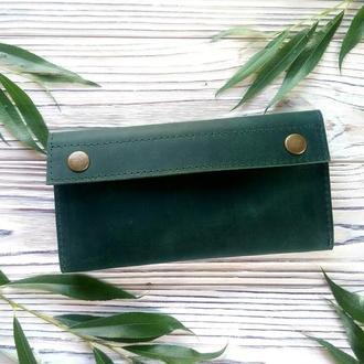 Большие кошельки на молнии, зеленый клатч кошелек, авторские подарки для женщин