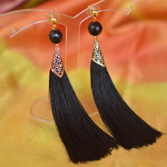 Серьги - кисти черные с агатом ′Царица ночи′
