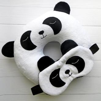 "Автоподушка і маска для сну ""Панда"""