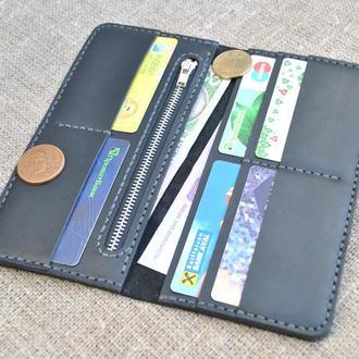 Удобный кожаный кошелек черного цвета K56-0