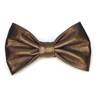 Кожаный золотой галстук-бабочка.Свадебный галстук-бабочка.