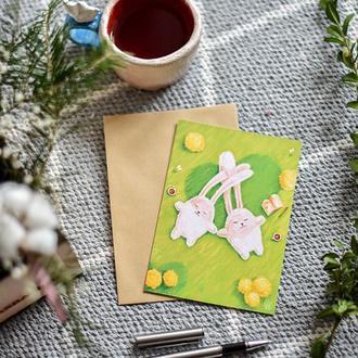 """Авторська листівка """"Закохані кролики"""""""