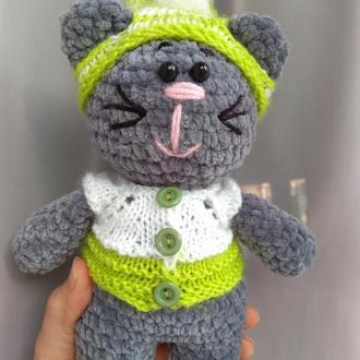 Плюшевый котик, мягкая игрушка вязаная крючком, подарок, ручной работы