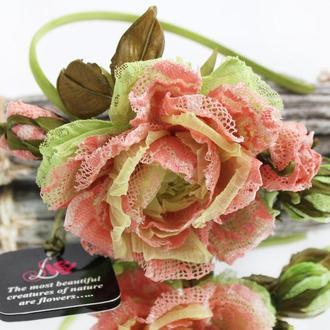 Ободок з трояндою «Мереживні візерунки»