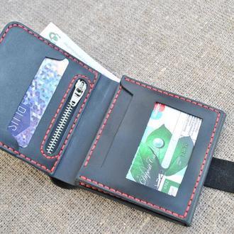 Бумажник тройного сложения из натуральной кожи черного цвета K02-0+red