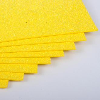Фоамиран с глиттером Желтый 2мм 20х30см