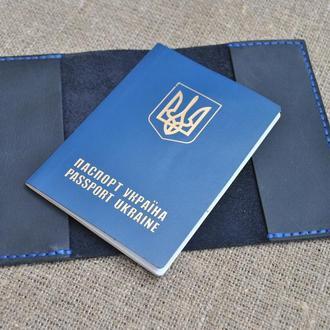 Темно-синяя обложка для паспорта из натуральной кожи P03-600+blue
