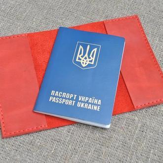 Обложка для паспорта из красной кожи P03-580